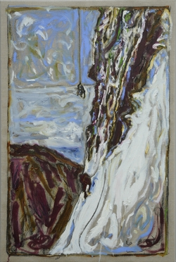 Billy Childish: Fetching the body of Toni Kurz (hanging from rope study 1) 2011.