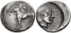 Mønt fra Segesta, en 2500 år gammel, græsk koloni på Sicilien, som menes besmykket med en cirneco-hund.