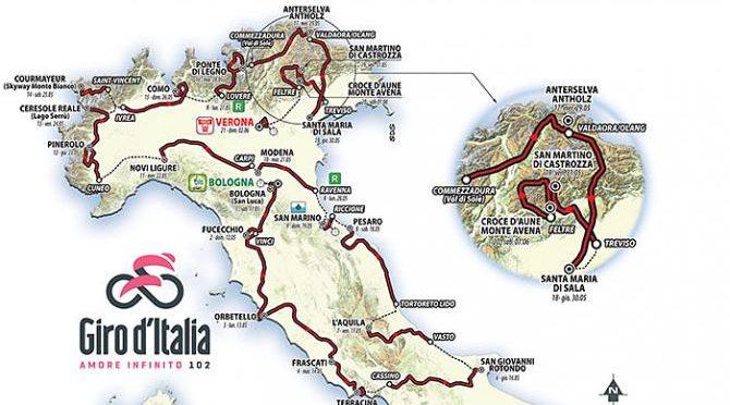 Ruten for hele Giro d'Italia 2019 er netop blevet offentliggjort og cyklisterne kommer igennem Abruzzo og Puglia